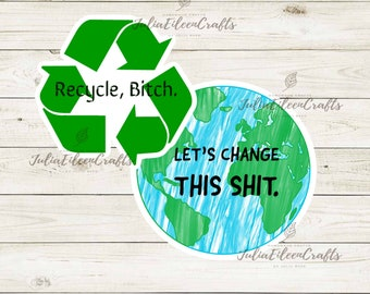 Let's be Eco-friendly & Save the Earth Sticker Set