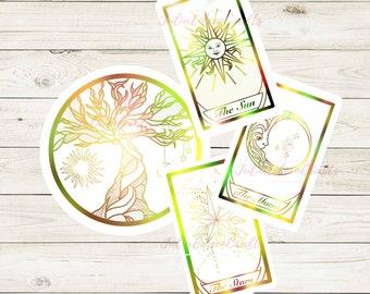 The Sun, Moon, & Stars Tarot Card Inspired Sticker Pack