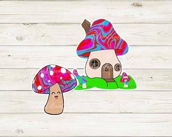 Toadstool Mushroom and house Sticker Set
