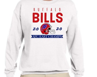 Buffalo Bills AFC Champs 2020 white crewneck- 2 style-Snowglobe and vintage Buffalo Bills Crewnecks
