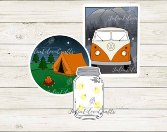 Camping Sticker Pack Set of 3