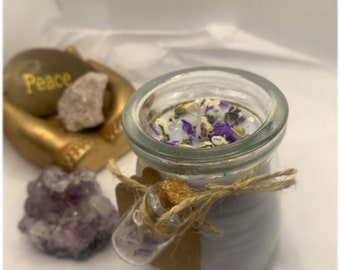 Vanilla & Lavender Essential Oil Candle |  Amethyst and Quartz Crystal Gemstones with dried  herbs and flowers