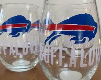 """Buffalo Bills """"Buffalove"""" Short Stem Wine Glass"""