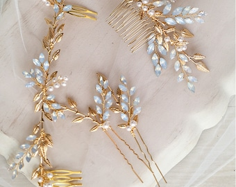 Royal Blue Flowers Decoration Hair Gold Comb Something Lucky for Wedding Prom