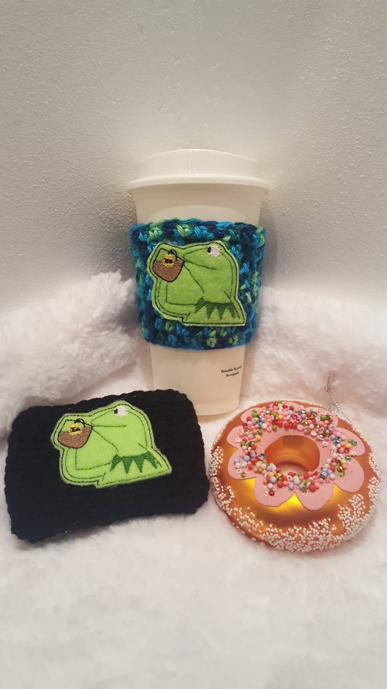 Frog Sipping Tea Handmade Coffee Cozy image 0