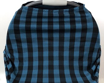 Dark Teal And Black Buffalo Plaid Stretchy Car Seat Cover Boy Carseat Canopy Nursing Blue Jersey