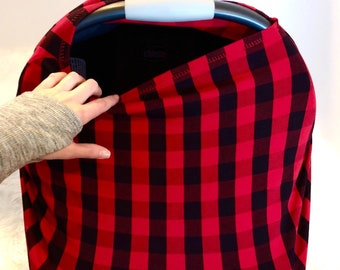 Red And Black Plaid Lumberjack Stretchy Jersey Knit Boy Car Seat Cover Buffalo Carseat Canopy Nursing