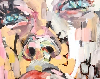 Billie -billieeilish, painting, art, contemporarypainting, modernart, figurativeart,