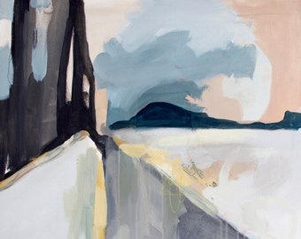 Malaze- abstract landscape, abstract cityscpae, bridge painting, muted tones, painting, contemporaryart