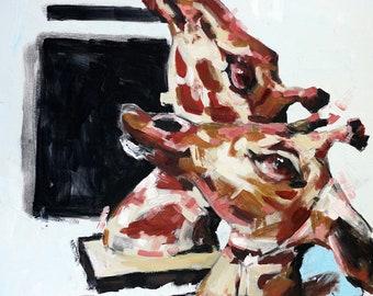 Slaughtered- animal preservation, contemporary art, activism art, taxidermy, animal art, modern art, oil painting