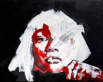 Power -MaddieZiegler-portrait-Sia-fist-red-contemporaryart-figurative-homedecor