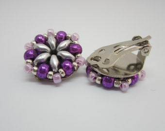 Clip-on Earrings, Beaded Earrings, Silver & Pink beaded Clip-on Earrings