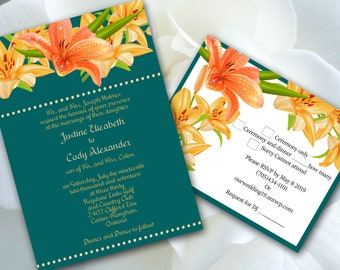 Print Your Own Wedding Invitation, Template, Orange,Tiger, Lily, Flower, Trendy,Teal Blue,