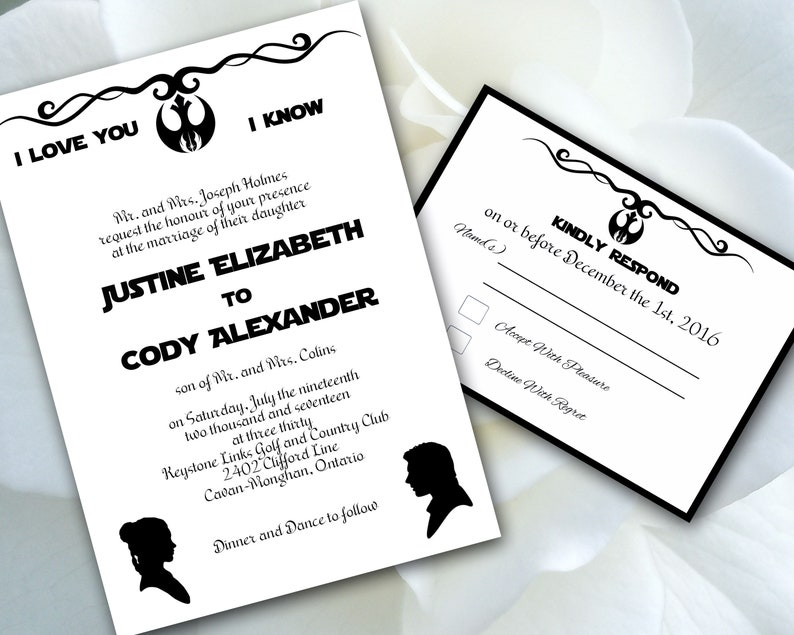 Print Your Own Wedding Invitations.Star Wars Print Your Own Wedding Invitation Template I Love You I Know