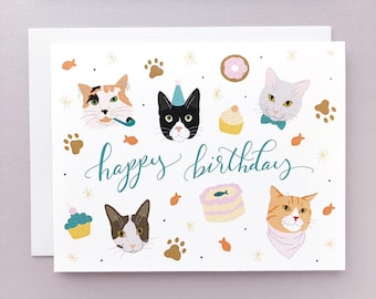 Happy Birthday Cats Card. Kitten Party. Pet Birthday Gift. Tabby. Calico. Tuxedo. Ginger Cats.