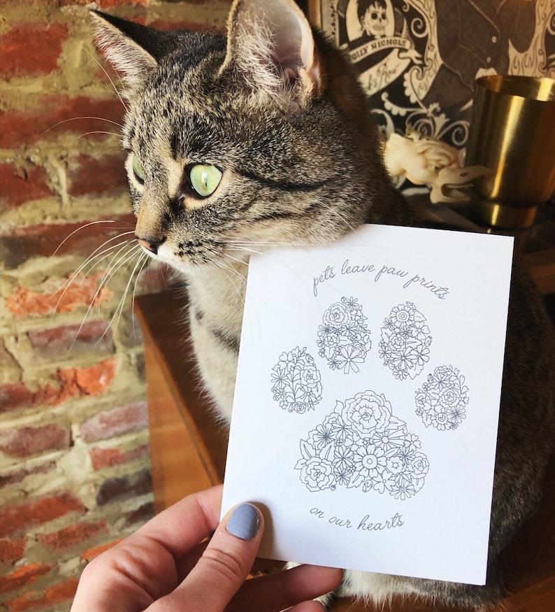 Animal Condolence Card. Dog or Cat Loss Card Paw Prints Pet Sympathy Card