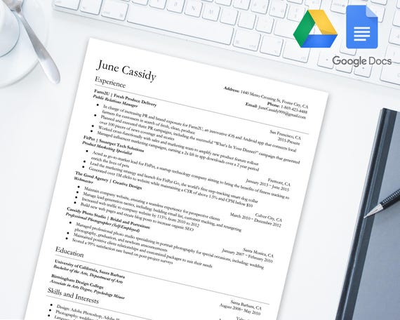 Distinguished Resume Template For Google Docs Google Drive Microsoft Word Docx