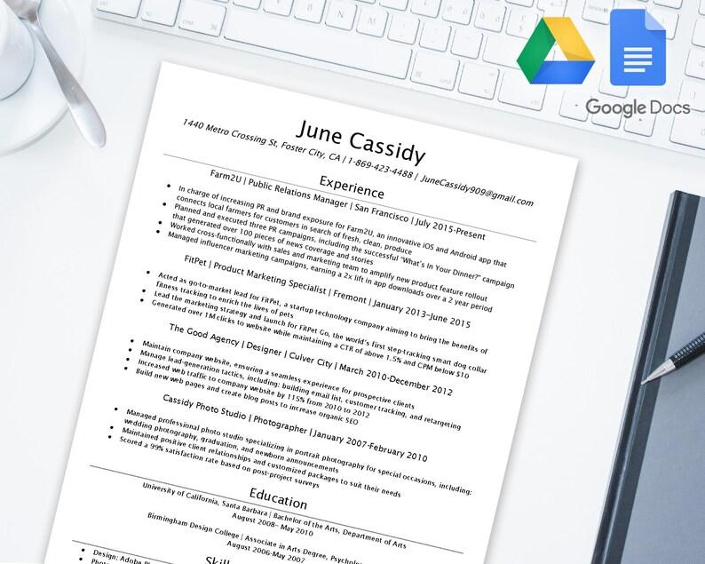 Easy 2 Edit Resume Template For Google Docs Google Drive Microsoft Word