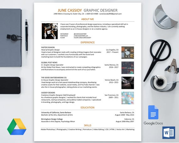 Creative Resume Template For Google Docs Google Drive Microsoft Word Docx