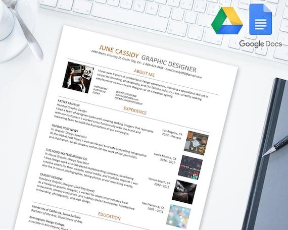 Kreative Lebenslauf Vorlage Für Google Docs Google Drive Etsy