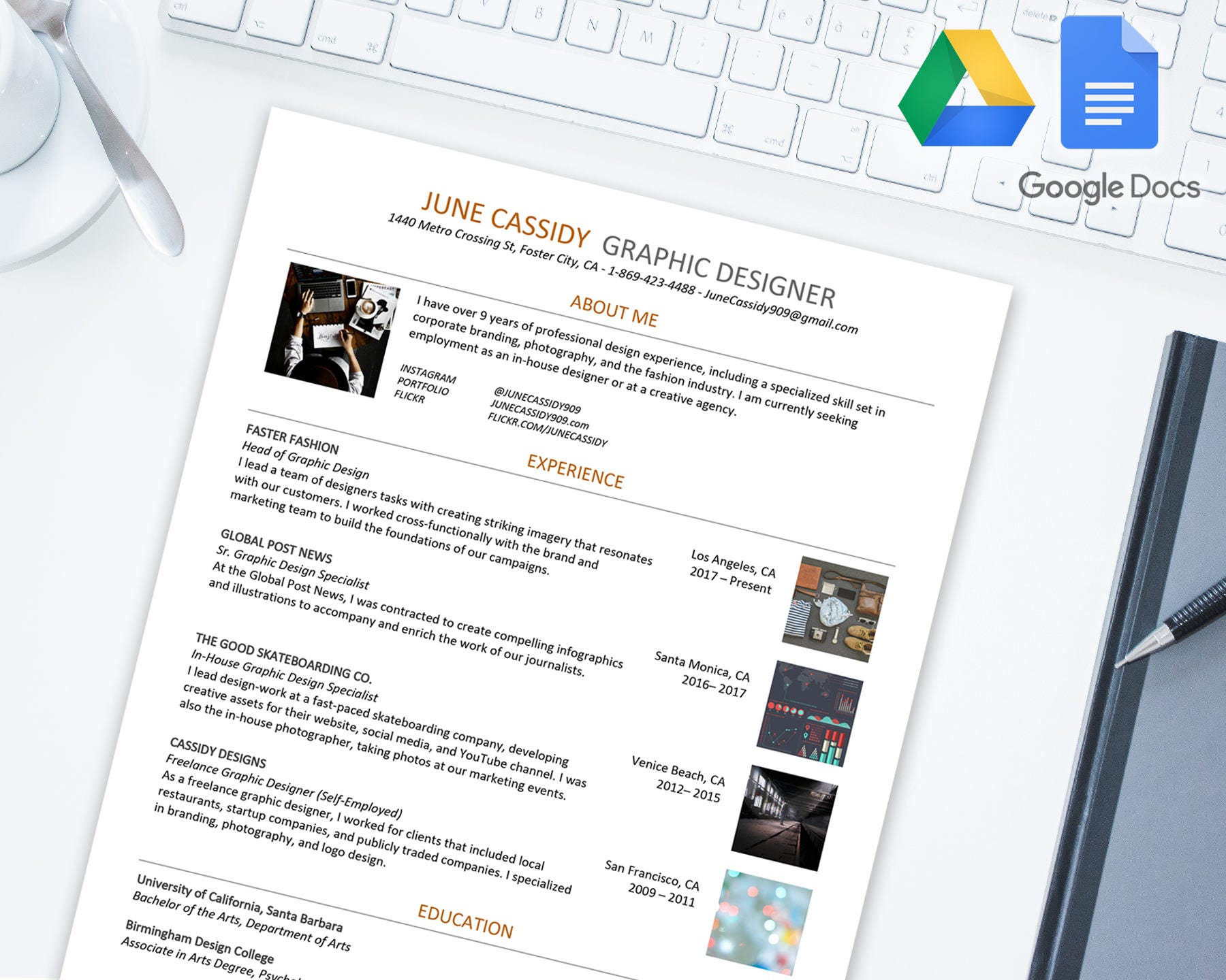 Kreative Lebenslauf Vorlage für Google Docs | Google Drive | Microsoft Word  .docx