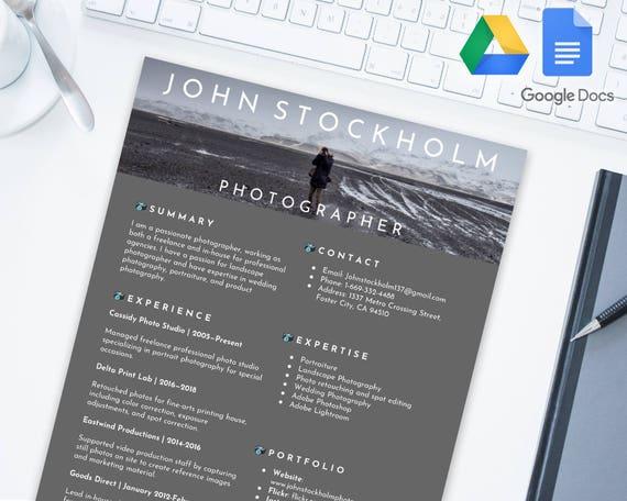 Photographer Editable Resume Template For Google Docs Google Drive