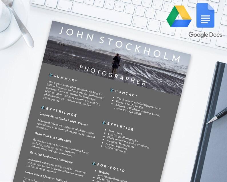 PHOTOGRAPHER Editable Resume Template For Google Docs