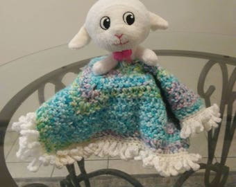 Adorably soft crochet lamb lovie