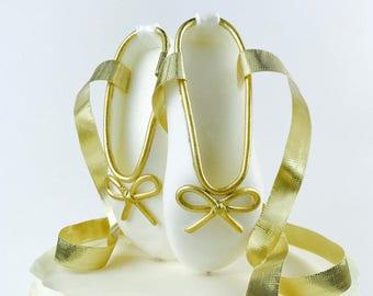 Ballerina CAKE Topper | White Gold Ballerina Shoes CAKE Topper | Ballet slippers cake topper | Ballerina Birthday decor | Ballet Baby Shower