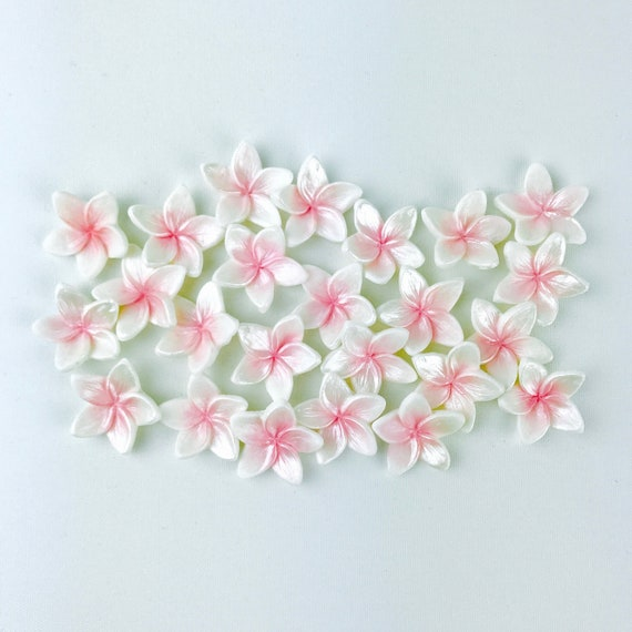 24 EDIBLE Fondant Plumeria Flowers Cupcake Toppers For