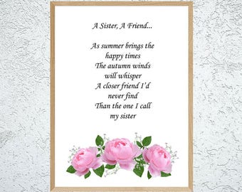 Friendship Poem Best Friend Gift Friend Verse Friend Poem Etsy