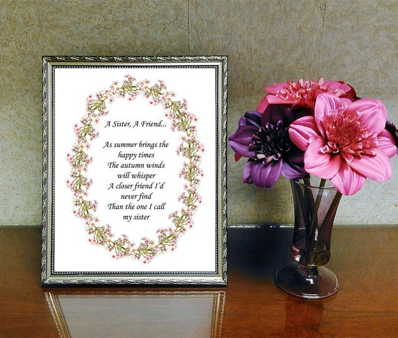 Printable Sister Friend Verse Sister Gift Printable Gift For Etsy