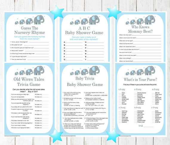 Printable Jungle Blue Elephant Baby Shower Trivia Games Pack Etsy