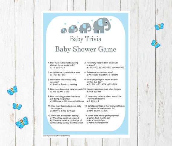 Printable Blue Elephant Baby Trivia Baby Shower Game Trivia Etsy