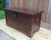 Wooden Hope Chest with Padlock, Storage Trunk with Padlock, 34 quot x15 quot x20 quot