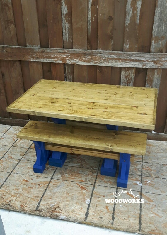 Phenomenal Wooden Kids Table And Bench Set For The Playroom Yellow And Blue Childrens Table With Bench Brightly Colored Kids Table With Bench Bralicious Painted Fabric Chair Ideas Braliciousco