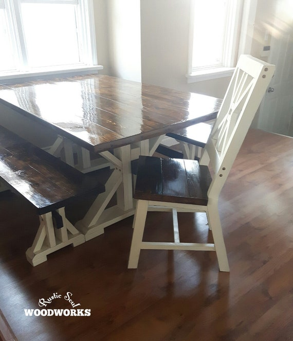 Farmhouse Dining Table With 2 Benches And Chairs 2 Tone Etsy