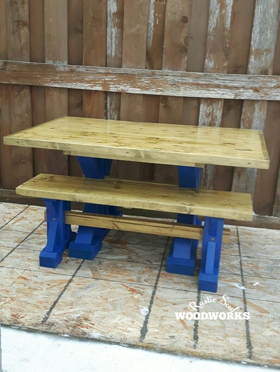 Groovy Wooden Kids Table And Bench Set For The Playroom Yellow And Blue Childrens Table With Bench Brightly Colored Kids Table With Bench Creativecarmelina Interior Chair Design Creativecarmelinacom