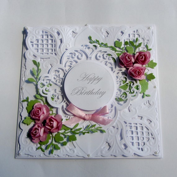 Pink Roses Birthday Card Romantic Old Fashioned Vintage Etsy