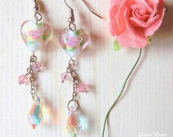 Long dangle earrings heart roses glass beads pink and purple swarovski crystals transparent tear drop swarovski crystal