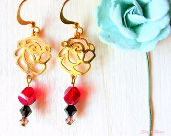 Dangle earrings gold rose charm red black and silver swarovski crystals