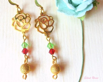 Dangle earrings gold rose charm red and green swarovski crystals gold bead