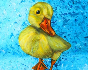 Duck on textured background, Acrylic  painting print