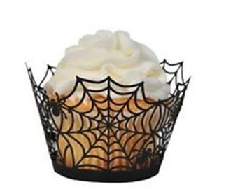 25 Halloween spider web Cupcake Wrappers Cases Laser Cut