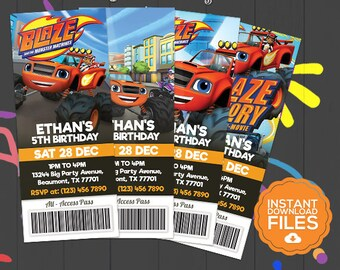 Blaze And The Monster Machines Ticket Invitation, Monster Machines Invite, Blaze Bday Invite, Blaze Printables, Blaze Party, Digital Invite
