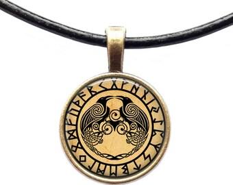 Odin pendant Raven necklace Rune jewelry