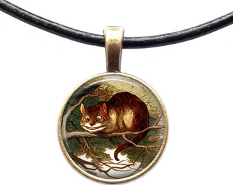 Cheshire cat pendant Animal necklace Fairy tale jewelry