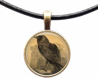 Raven pendant Crow necklace Animal jewelry Bird amulet