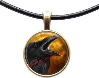 Crow jewelry Bird necklace Animal pendant Raven charm