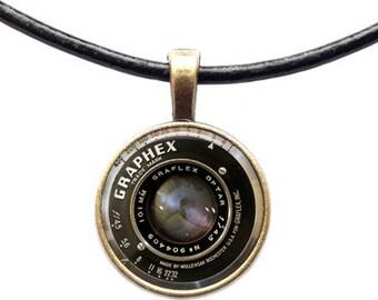 Camera lens steampunk pendant Vintage necklace Photographer jewelry